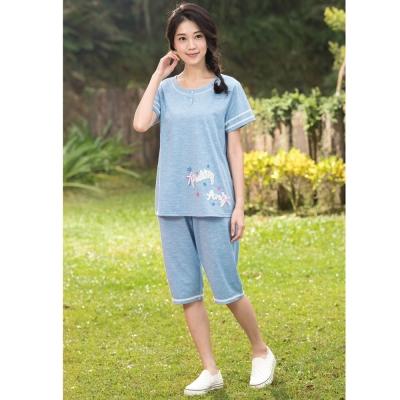 華歌爾睡衣Pretty Amy 印花 M-L 短袖七分褲家居服(甜美藍)