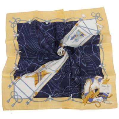 TRUSSARDI-飄洋藍圖海軍風領帕巾-藍黃
