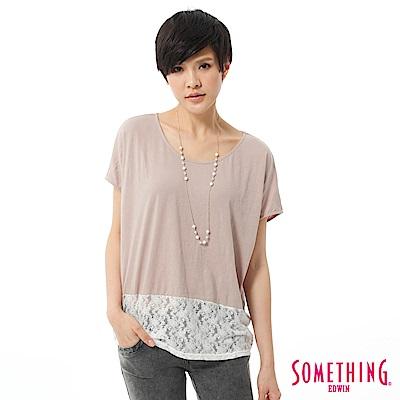 SOMETHING T恤 拼接蕾絲造型T-女-灰褐