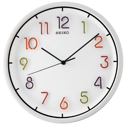 SEIKO 精工 立體彩色數字 恆動式秒針掛鐘(QXA447H)-白/31.8cm