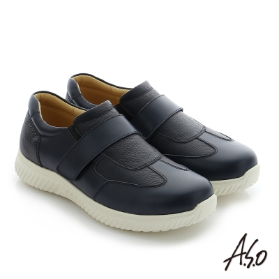 A.S.O 輕量抗震 牛皮魔鬼氈奈米機能休閒鞋 藍色