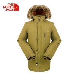 The North Face北面男款軍裝綠防水保暖羽絨
