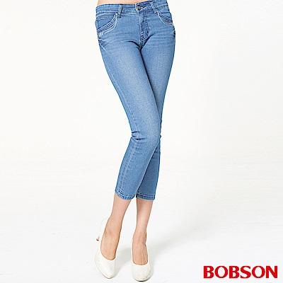 BOBSON 女款鑽飾牛仔八分褲