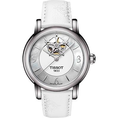 TISSOT Lady Heart 花朵鏤空機械腕錶-珍珠貝x白/35mm T0502071711704