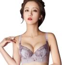 思薇爾 戀戀金紗系列B-F罩刺繡蕾絲包覆背心型內衣(芋銀灰)