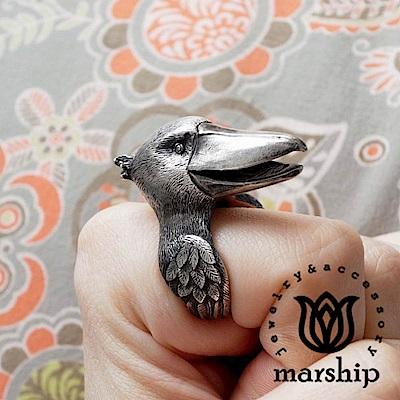 Marship 日本銀飾品牌 鯨頭鸛戒指 925純銀 古董銀款 不動如山