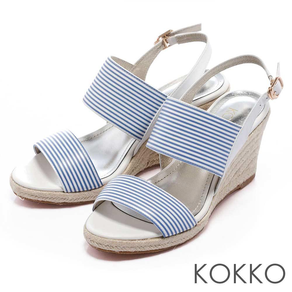 KOKKO 台灣手工 - 雙環帶後釦式麻台楔型涼鞋 - 水藍