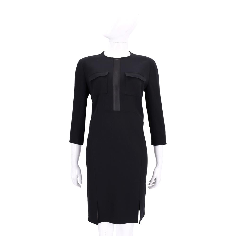 ELISABETTA FRANCHI 黑色拼接透膚設計七分袖洋裝