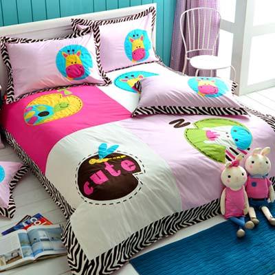 義大利Fancy Belle-動物莊園-雙人四件式舖棉兩用被床包組