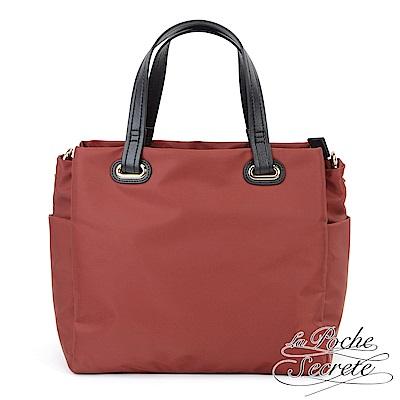 La Poche Secrete 輕盈時尚簡約托特包大方包-酒紅色