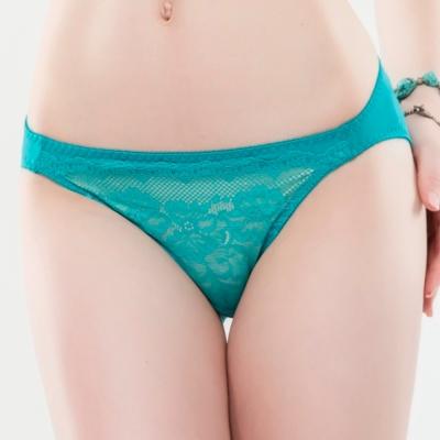 思薇爾 緹花漫舞系列M-XL蕾絲低腰三角內褲(微風藍)