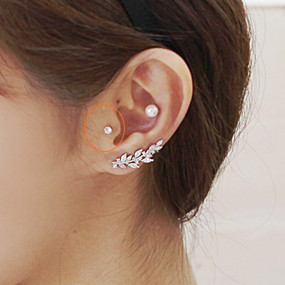 梨花HaNA 韓國925銀針超微鑲單顆美鑽耳環