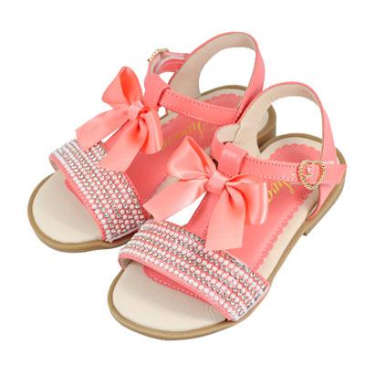 Swan天鵝童鞋-夢幻排鑽T字蝴蝶結緞帶涼鞋 3783-桔