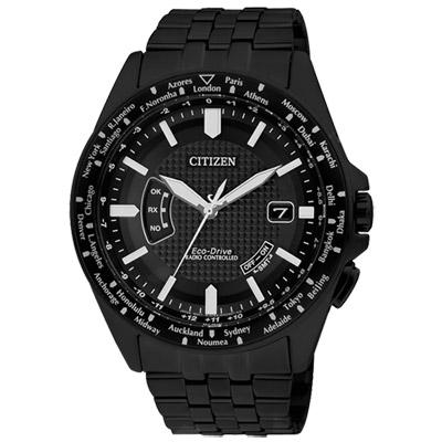 CITIZEN Eco-Drive 超越極限萬年曆電波腕錶(CB0028-58E)-黑/43mm