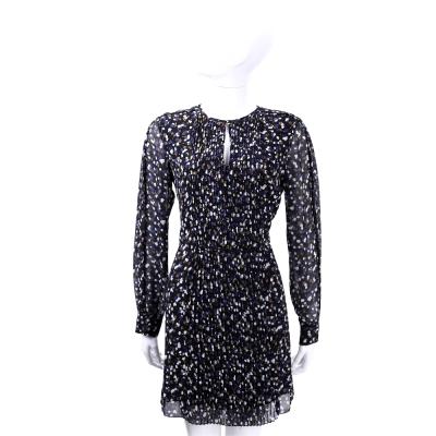 SEE BY CHLOE 深藍色碎花百褶設計長袖洋裝
