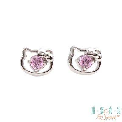 甜蜜約定 HelloKitty 幸運小物kitty純銀耳環-粉紅