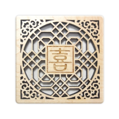 T-Collection - 古典花窗格 楓木 客製化 雕刻杯墊【喜】- 雙入