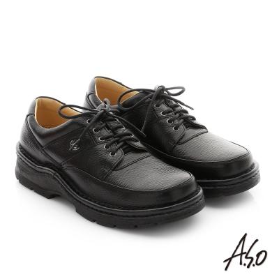 A.S.O 抗震雙核心 摔花牛皮綁帶奈米紳士鞋 黑色