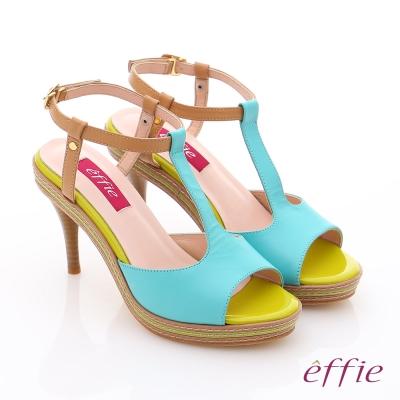 effie 修身美型 全真皮T字帶撞色高跟涼鞋 藍色