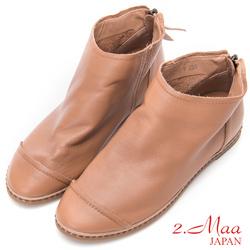 2.Maa - 極簡素面牛皮內增高踝靴 - 棕