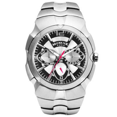 MORRIS-K-魔幻三眼多功能不鏽鋼腕錶-銀x黑-42mm