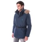 【hilltop山頂鳥】男款GoreTex兩件式防水羽絨短大衣F22MU2藍