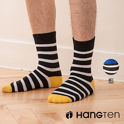 【HANG TEN】原色條紋長襪2雙入組(男)_藍(HT-024-69)