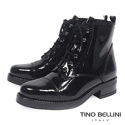 Tino Bellini義大利進口酷勁牛漆皮綁帶軍靴_ 黑