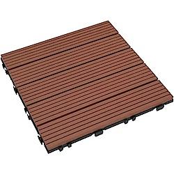 【貝力地板】太陽神DIY塑木止滑地板-3P4咖啡直條(9片/箱)