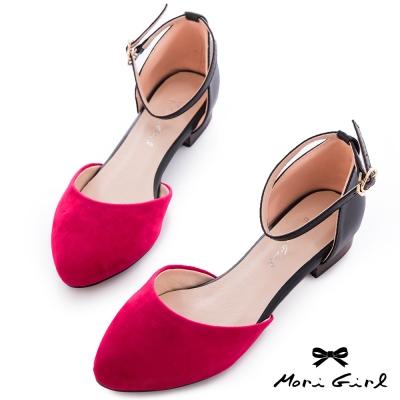 Mori girl時髦街頭-撞色繫踝低跟鞋  桃紅