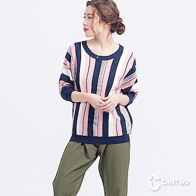 CANTWO彩條針織上衣(共二色)