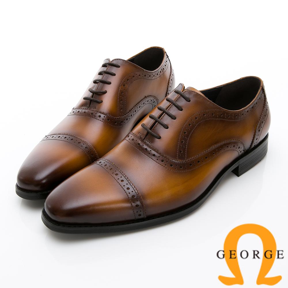 Amber 手工雙色拼接綁帶紳士鞋皮鞋-棕
