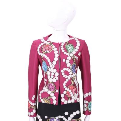 BOUTIQUE MOSCHINO 桃紅色珠寶圖印長袖外套