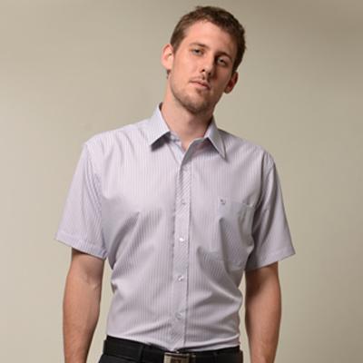 金‧安德森 紫色條紋門襟斜紋短袖襯衫