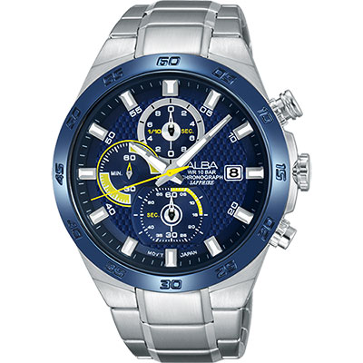 ALBA 雅柏 ACTIVE 活力玩酷型男計時手錶(AM3339X1)-藍/44mm