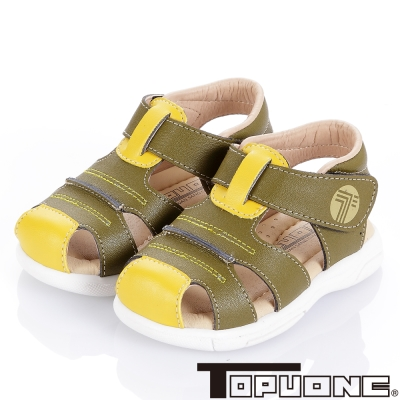 TOPUONE 舒適牛皮頂級超纖減壓學步涼鞋童鞋-綠(小童)