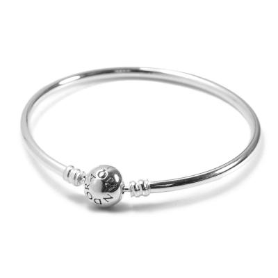 Pandora 潘朵拉 硬環圓珠釦純銀手鍊手環