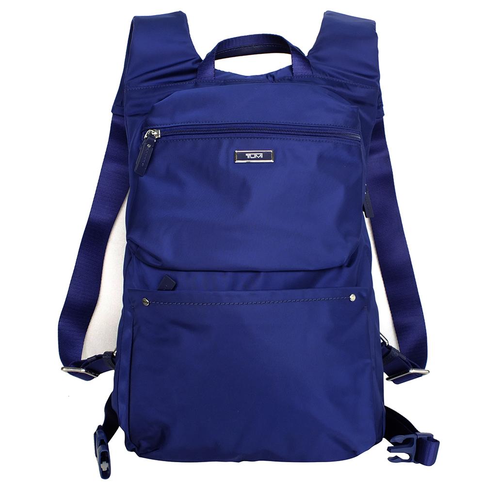 TUMI寶藍質感滑面輕量尼龍雙肩後背包