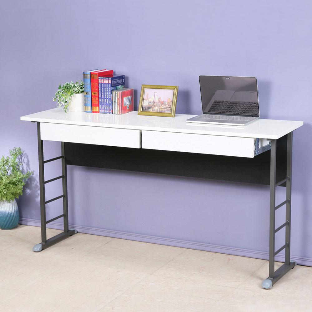 Homelike 查理140x40工作桌-亮面烤漆(附二抽屜)