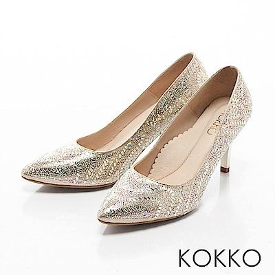 KOKKO -熠熠閃耀夢幻尖頭晶鑽高跟鞋-命定金