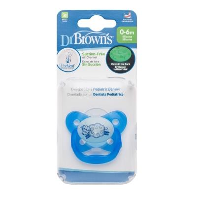 美國Dr Brown 布朗博士PreVent功能性夜光安撫奶嘴 藍2入0~6個月(附收納盒