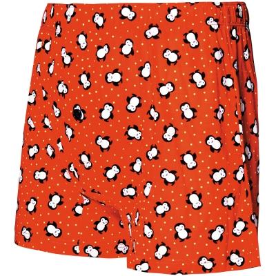 SOLIS-俏皮企鵝系列寬鬆四角男褲-袍紅色