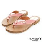 PLAYBOY 花漾假期 沁甜單鑽兔頭夾腳涼拖鞋-粉(女)