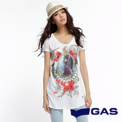 GAS-隨心所欲-孔雀及鑽鍊印花長版短袖T恤-白-女款