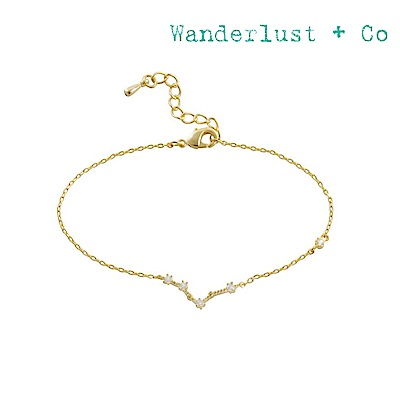 Wanderlust+Co 澳洲時尚品牌 水鑽十二星座系列 雙魚座金色手鍊手環