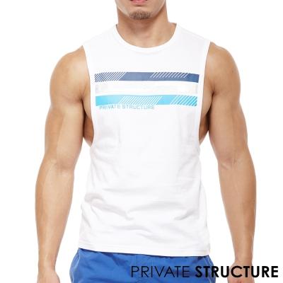 P.S經典款三色帶雙側邊大開口健身運動背心(白色)