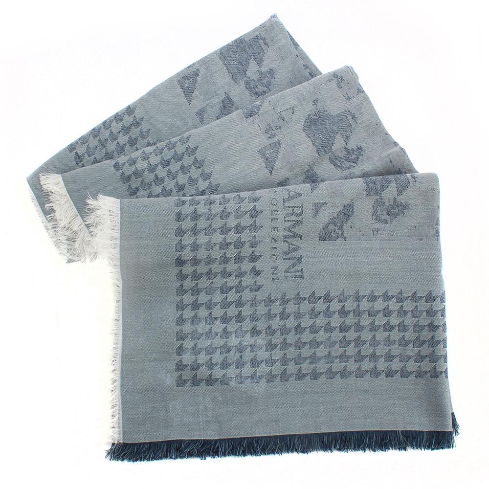 ARMANI COLLEZIONI 千鳥格紋箭形飾邊流蘇披肩圍巾-藍色