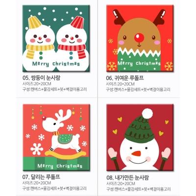(活動)LOVIN 超萌韓版數字油畫 耶誕節系列 6幅 隨機出貨組