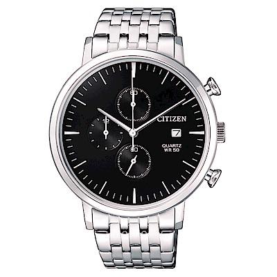 CITIZEN星辰 都會潮流三眼計時石英腕錶 (AN3610-55E)- 黑/41mm