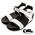 Ollie韓國空運-正韓製金屬漆皮一字美體厚底涼鞋-銀